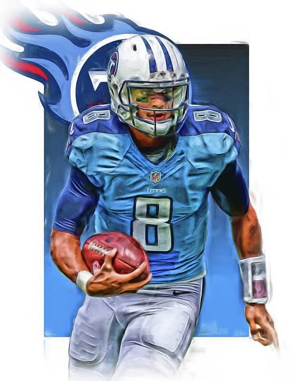 Marcus Mariota Poster featuring the mixed media Marcus Mariota Tennessee Titans Oil Art by Joe Hamilton