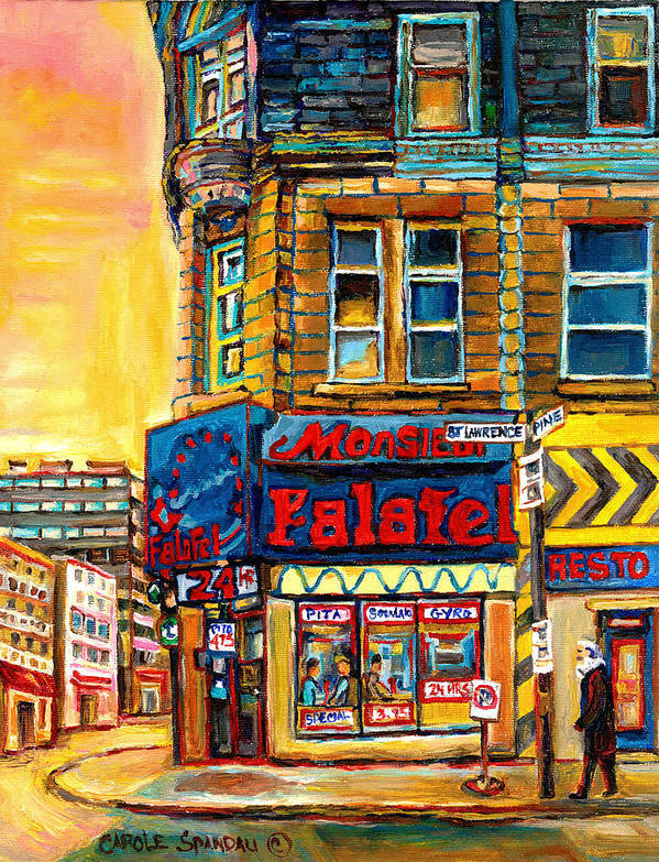 Montreal Poster featuring the painting Monsieur Falafel by Carole Spandau