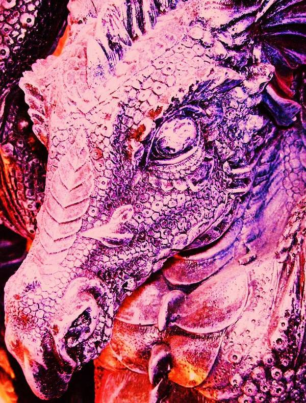 Dinosaur Poster featuring the mixed media Pink-dragon by Ramon Labusch