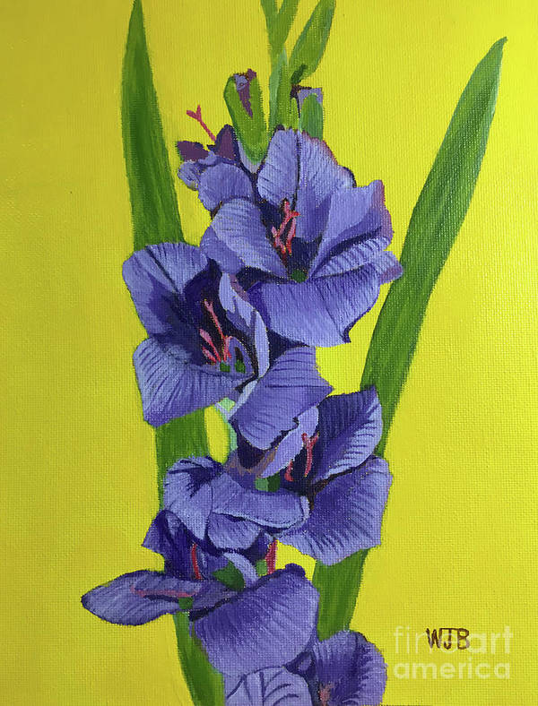 Gladiolas Poster featuring the painting Purple Gladiolas by William Bowers