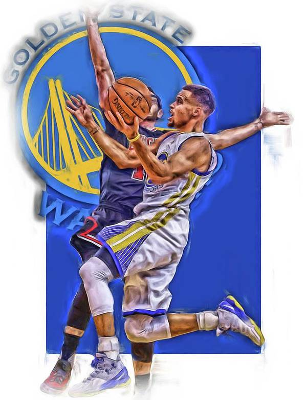 Stephen Curry Poster featuring the mixed media Stephen Curry Golden State Warriors Oil Art by Joe Hamilton