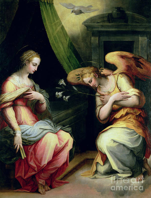 The Annunciation Poster featuring the painting The Annunciation by Giorgio Vasari