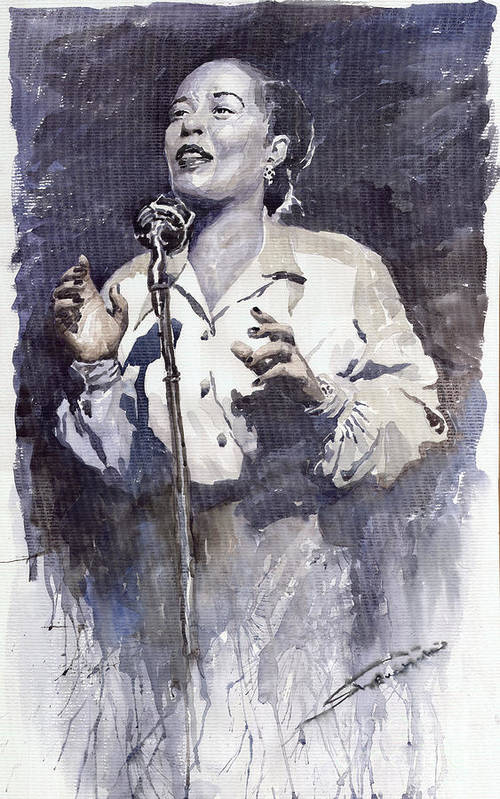 Billie Holiday Poster featuring the painting Jazz Billie Holiday Lady Sings The Blues by Yuriy Shevchuk