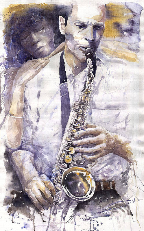 Jazz Poster featuring the painting Jazz Muza Saxophon by Yuriy Shevchuk