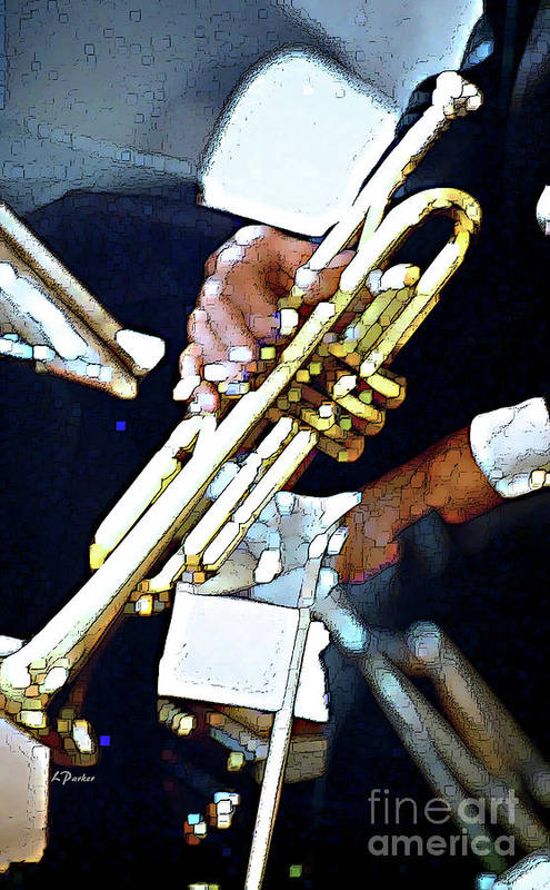 Abstract Poster featuring the photograph Music Man Trumpet by Linda Parker