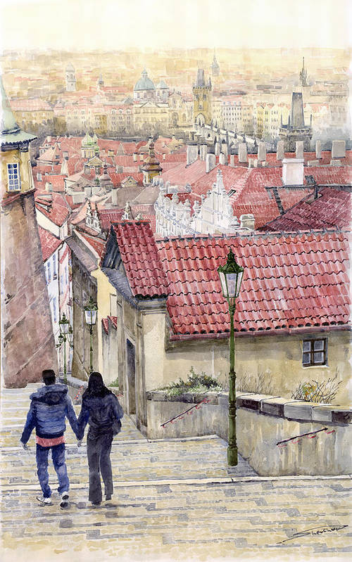 Watercolor Poster featuring the painting Prague Zamecky Schody Castle Steps by Yuriy Shevchuk