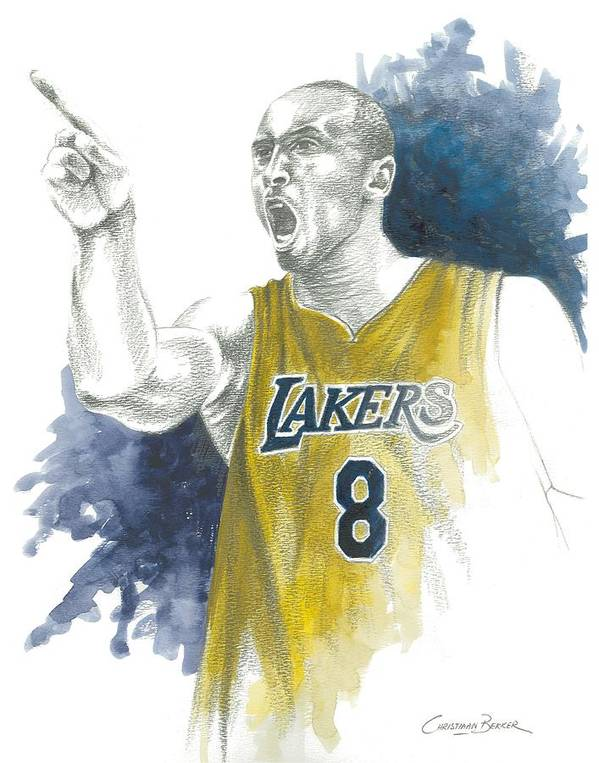 Kobe Poster featuring the painting Kobe Bryant by Christiaan Bekker