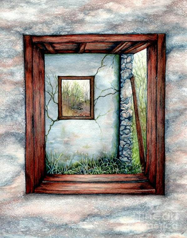 Window View Poster featuring the painting Barn Window Peering Through Time by Janine Riley