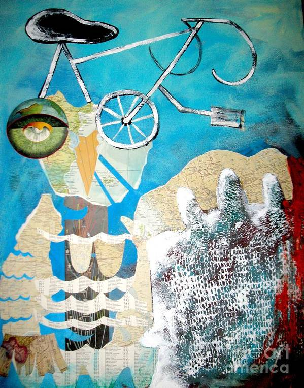 Owl Poster featuring the painting Bike Owl by Amy Sorrell