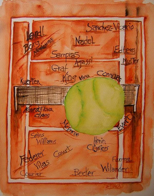 Tennis Poster featuring the painting Clay Courters by Elaine Duras