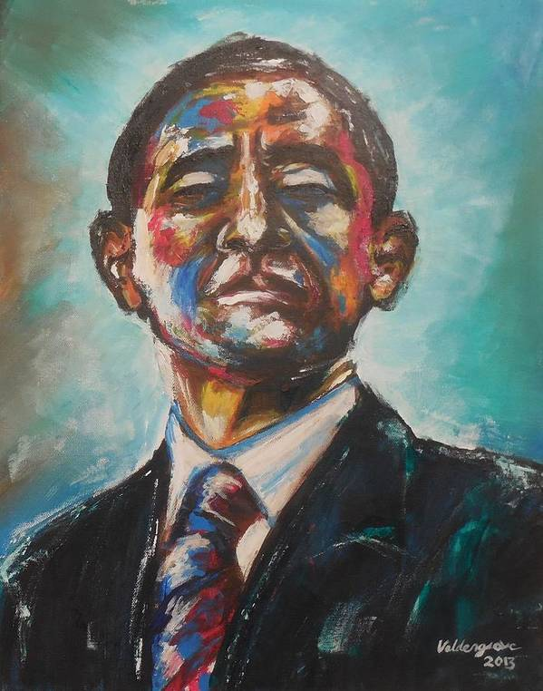 Barack Obama. Portrait Poster featuring the painting Commander In Chief by Valdengrave Okumu