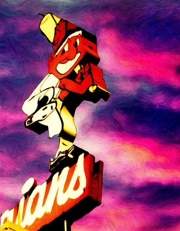 Cleveland Indians Poster featuring the painting Dawn Of A New Season by Kenneth Krolikowski