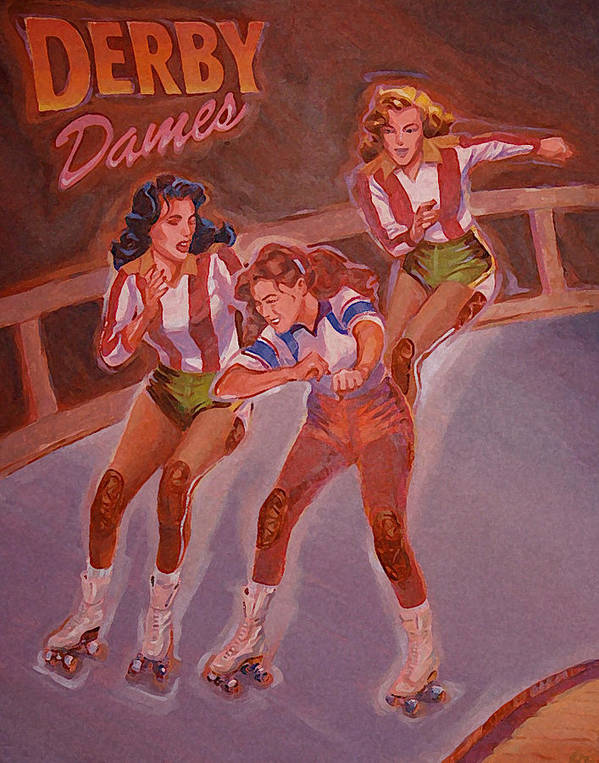 Roller Derby Poster featuring the painting Derby Dames by Shawn Shea