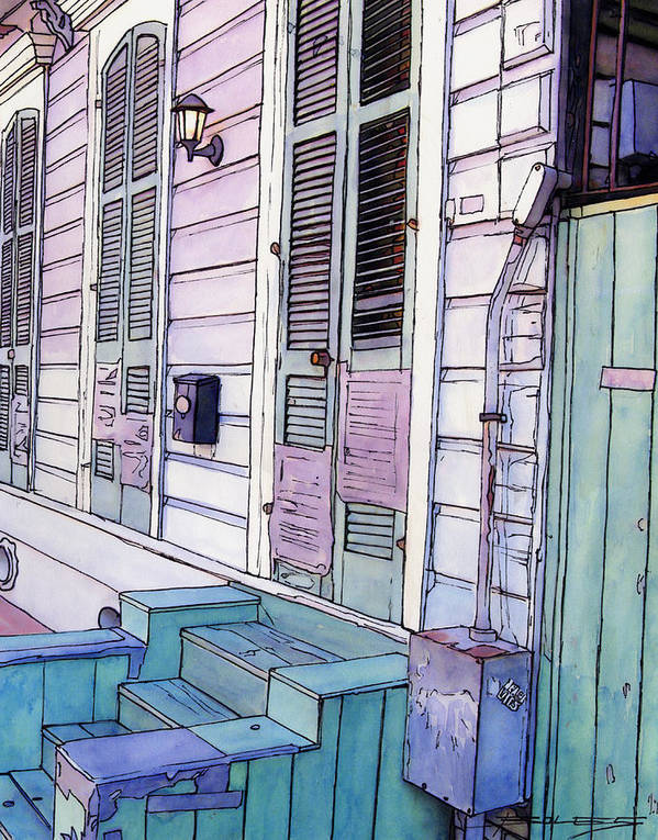 New Orleans Poster featuring the painting French Quarter Stoop 213 by John Boles