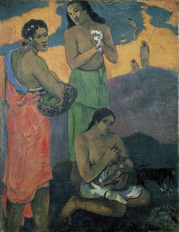 Vertical Poster featuring the photograph Gauguin, Paul 1848-1903. Three Women by Everett