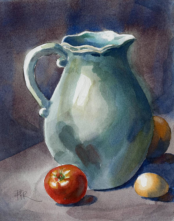 Tomato Poster featuring the painting Pitcher With Tomato by Pablo Rivera