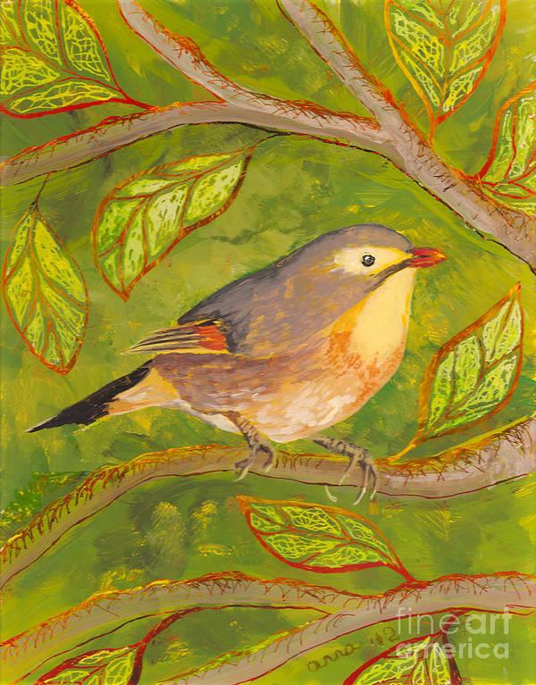 Hawaii Birds Poster featuring the painting Red-billed Leiothrix by Anna Skaradzinska