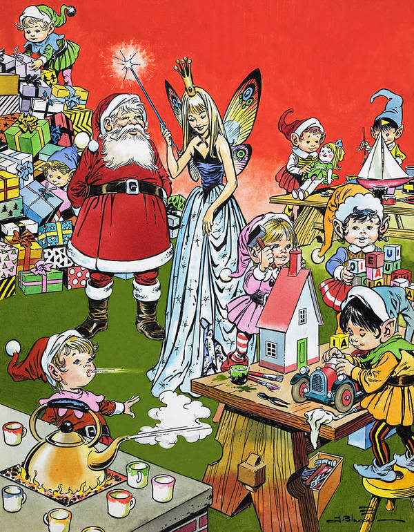 Children's Illustration Poster featuring the painting Santa Claus Toy Factory by Jesus Blasco