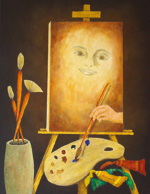 Pamela Allegretto Poster featuring the painting Self-portrait In Progress by Pamela Allegretto