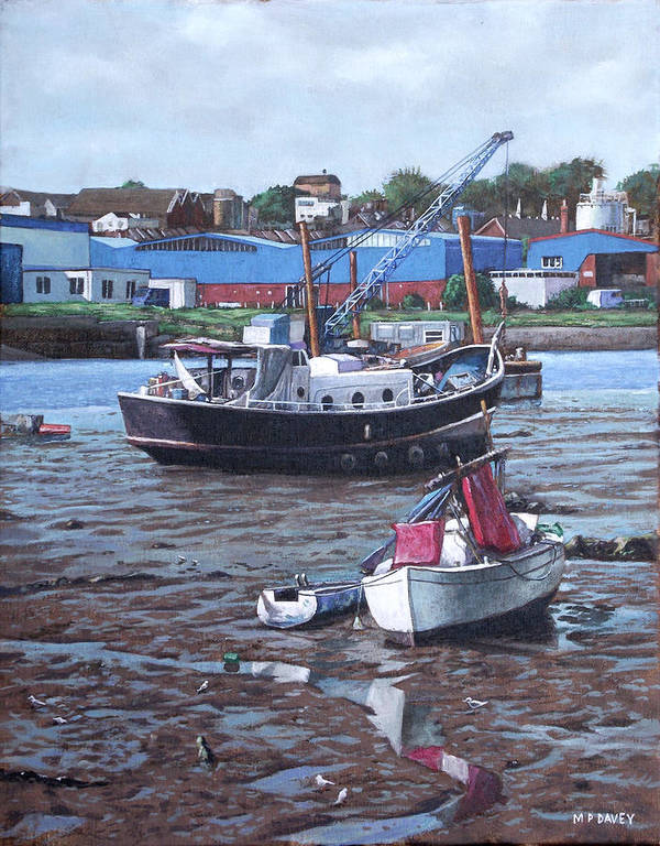 Southampton Poster featuring the painting Southampton Northam Boats by Martin Davey
