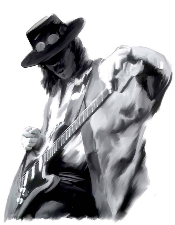 Stevie Ray Vaughan Collectibles Poster featuring the painting The Maestro  Stevie Ray Vaughan by Iconic Images Art Gallery David Pucciarelli