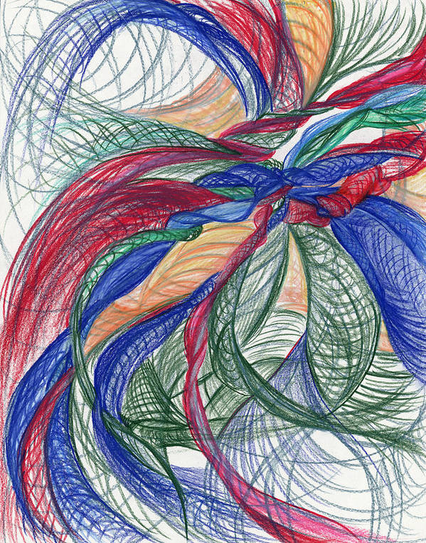 Abstract Poster featuring the drawing Twirls And Cloth by Kelly K H B