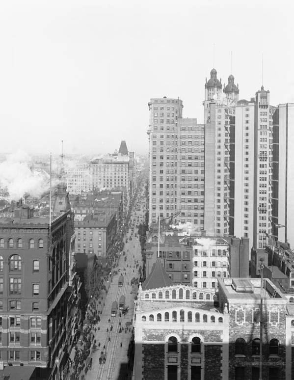Broadway New York Skyscraper City Cityscape Street Building 1901 Photograph Vintage Poster featuring the photograph Up Broadway 1901 by Steve K