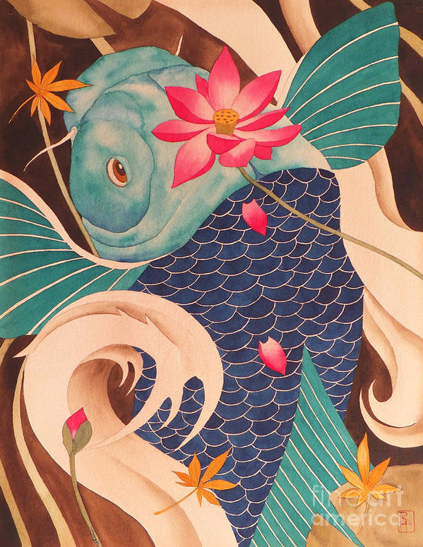 Watercolor Poster featuring the painting Water Dragon by Robert Hooper