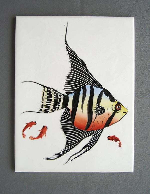 Porcelain Poster featuring the ceramic art 361 Tile With Fishes by Wilma Manhardt