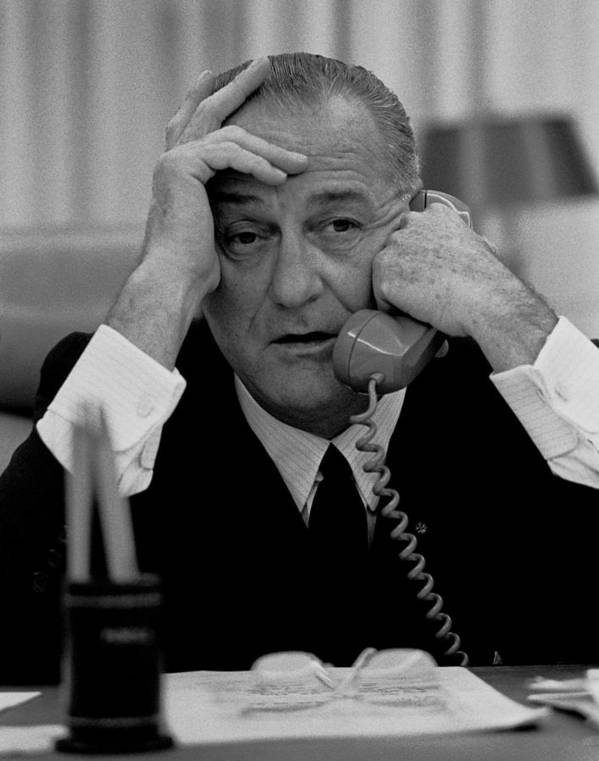 History Poster featuring the photograph President Lyndon Johnson by Everett