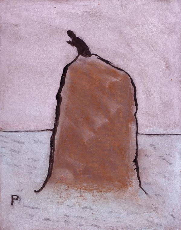(a Most Unlikely Situation From My Original Primitive Folk Art Painting) Poster featuring the mixed media A Most Unlikely Situation by Peter McPartlin