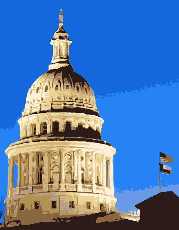 Capitol Of Texas Poster featuring the photograph Capitol Dome Color 10 by Scott Kelley
