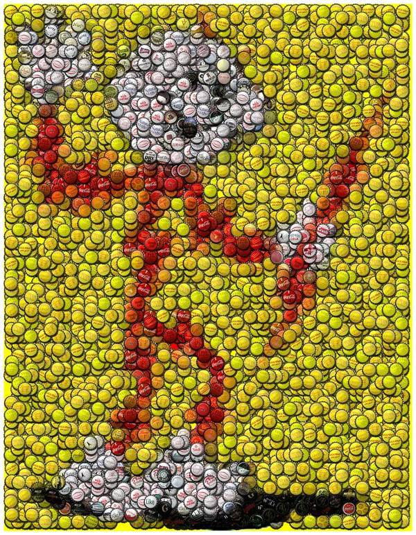 Electric Poster featuring the digital art Reddy Kilowatt Bottle Cap Mosaic by Paul Van Scott
