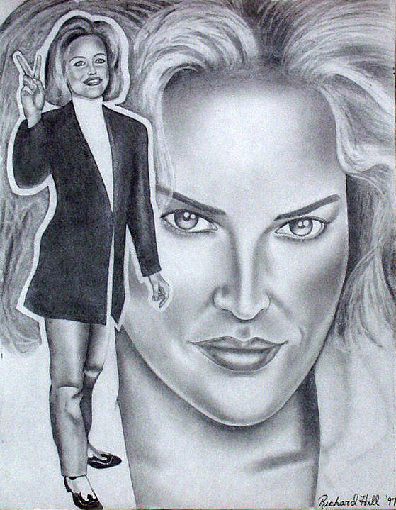 Portraits Poster featuring the drawing Sharon Stone by Rick Hill