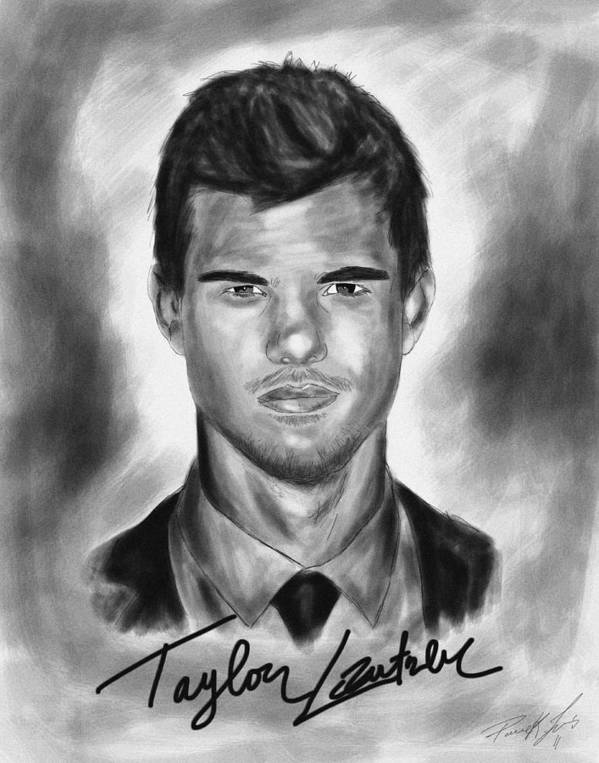 Taylor Lautner Sharp Poster featuring the drawing Taylor Lautner Sharp by Kenal Louis