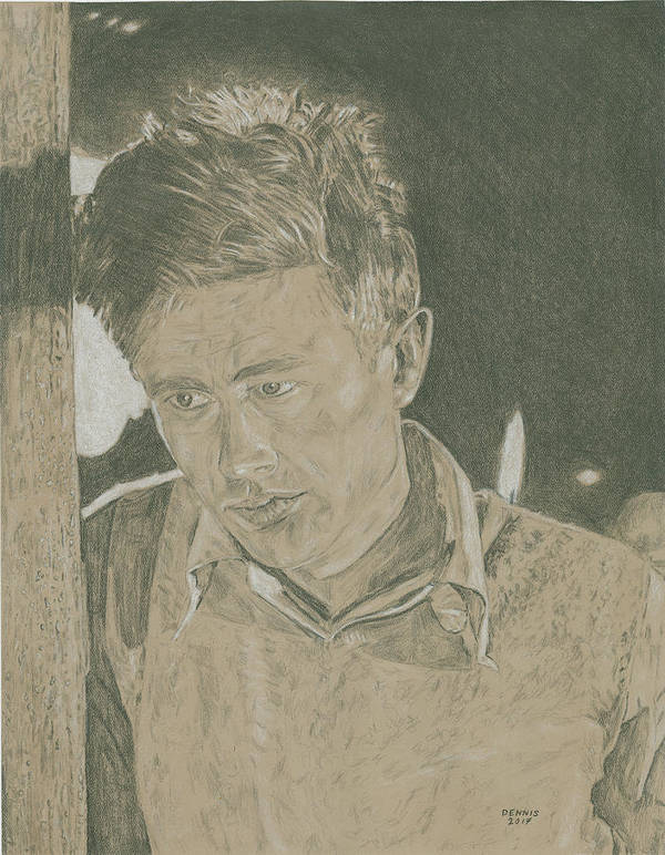 James Dean Poster featuring the drawing James Dean by Dennis Larson