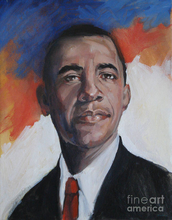 Portrait Poster featuring the painting President Barack Obama by Synnove Pettersen