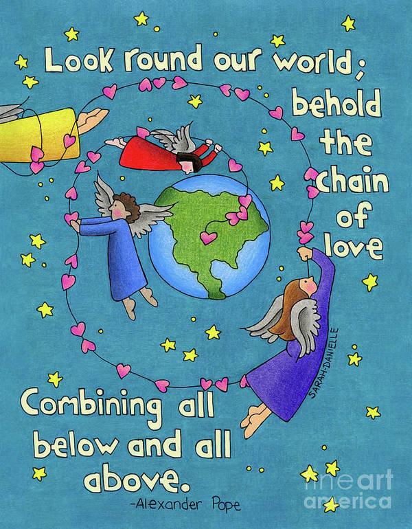 Angels Poster featuring the drawing Chain Of Love by Sarah Batalka