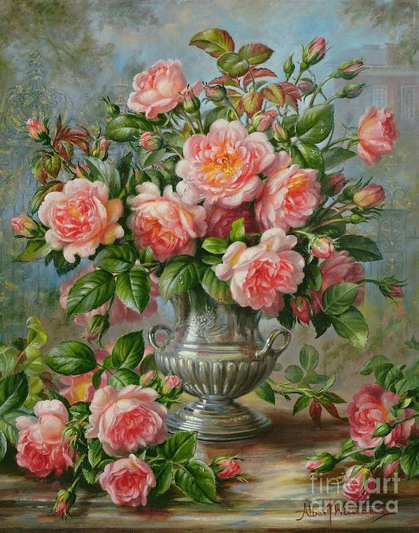 Still Life; Flower; Rose; Arrangement; Vase; Princess Of Wales (1981-96); Homage; Pink; Lady Diana Spencer; Lady Diana Poster featuring the painting English Elegance Roses In A Silver Vase by Albert Williams
