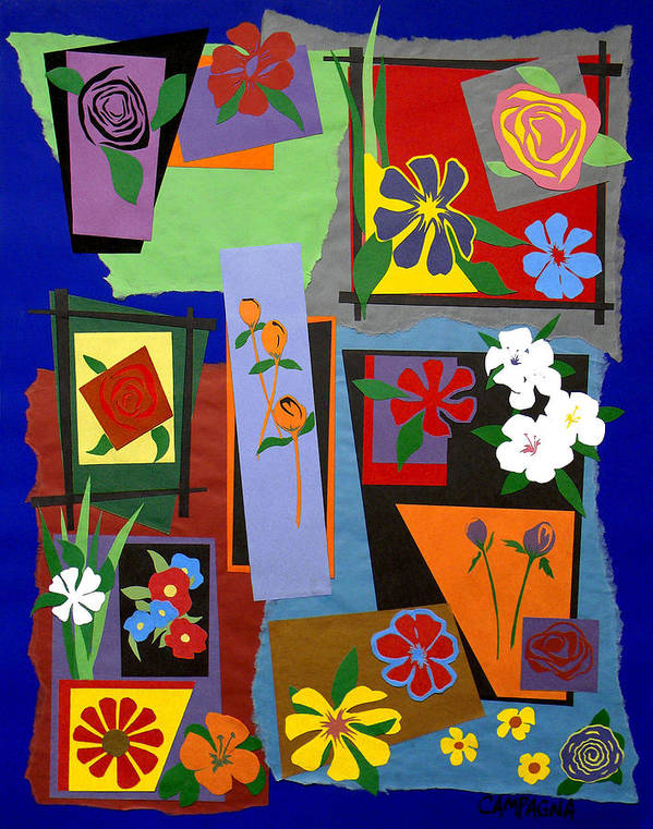 Cut Paper Poster featuring the tapestry - textile Flowers Study 1 by Teddy Campagna