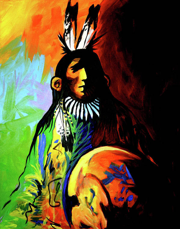 Native American Poster featuring the painting Indian Shadows by Lance Headlee