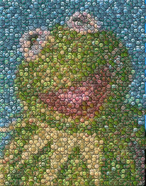 Kermit The Frog Poster featuring the mixed media Kermit Mt. Dew Bottle Cap Mosaic by Paul Van Scott