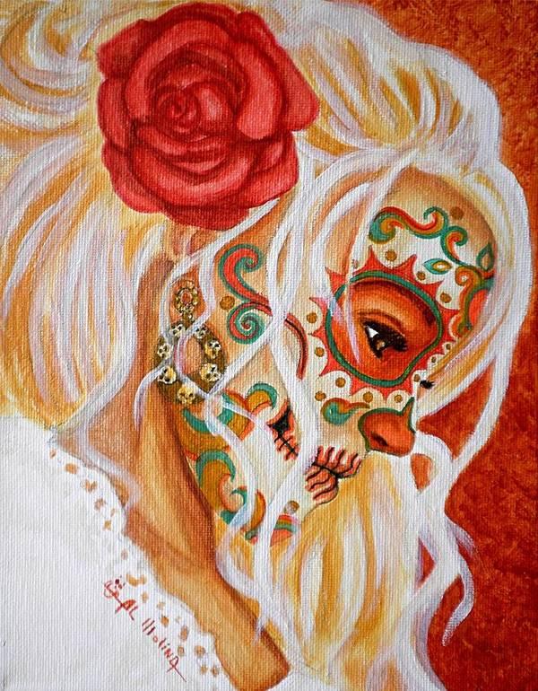 Dia De Los Muertos Poster featuring the painting Mi Mente Me Lleva De Nuevo A Usted by Al Molina