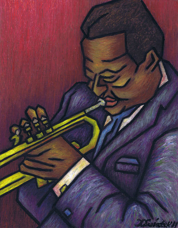 Miles Davis Poster featuring the painting Miles Davis by Kamil Swiatek