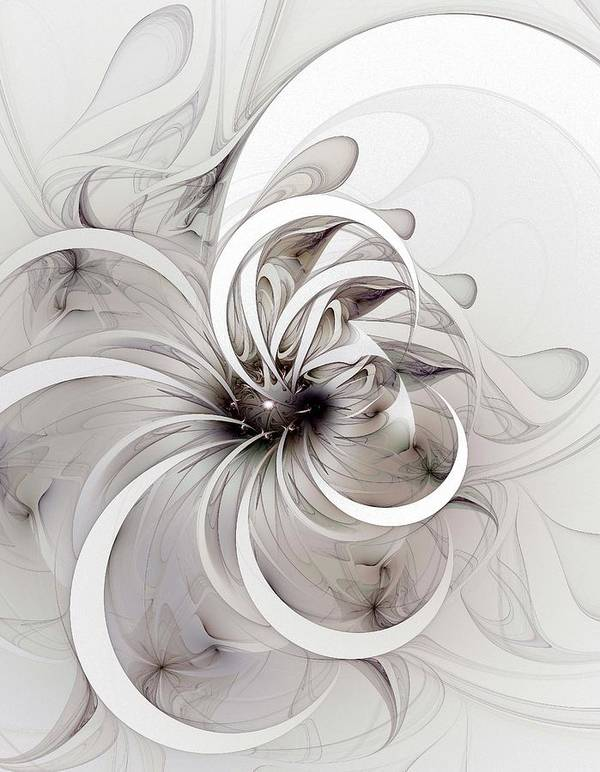 Digital Art Poster featuring the digital art Monochrome Flower by Amanda Moore