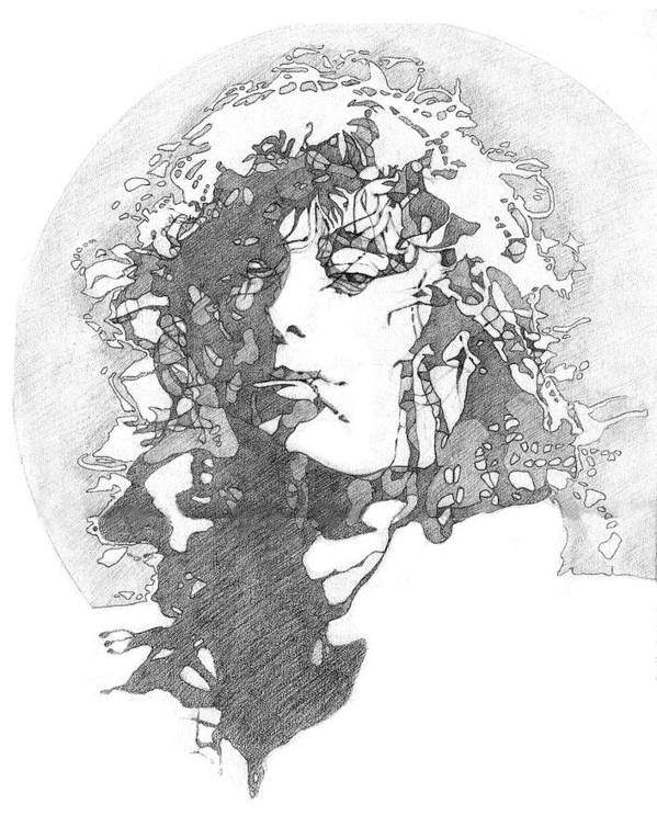 Pencil Poster featuring the drawing Rock Legend by Karen Clark