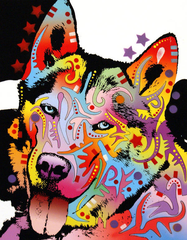 Dean Russo Poster featuring the painting Siberian Husky 2 by Dean Russo