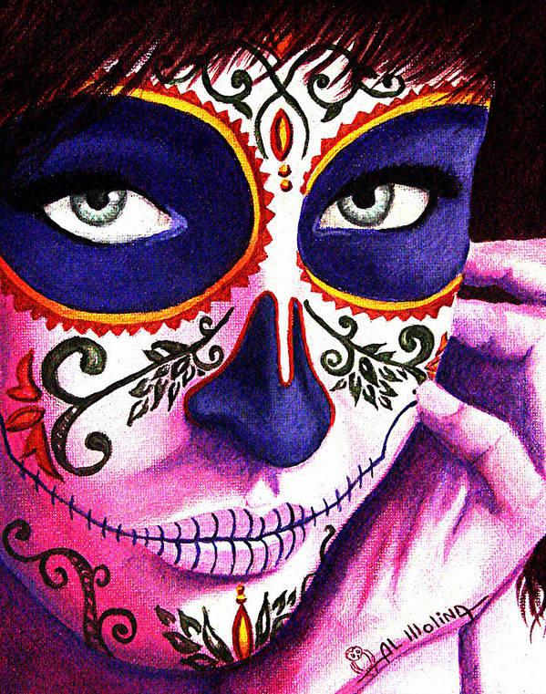 Dia De Los Muertos Poster featuring the painting Siempre En Mi Mente by Al Molina