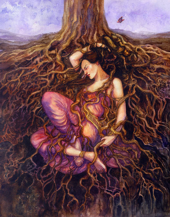 Dryad Poster featuring the painting Tangled by Janet Chui