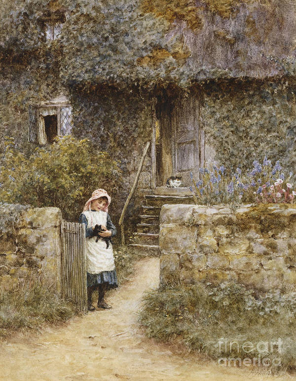 Cottage; English; Landscape; Rural; Girl; Child; C19th; C20th; Path; Bonnet; Kitten; Cat; Ivy; Creeper; Victorian Poster featuring the painting The Garden Gate by Helen Allingham